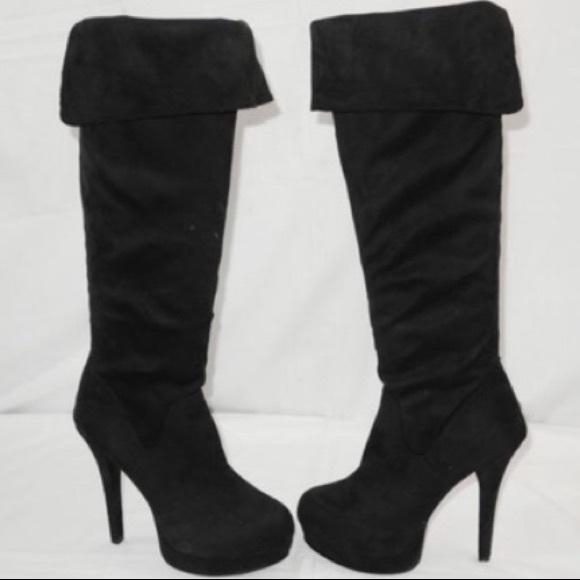 Kardashian Kollection Shoes - Kardashian Kollection Over the Knee BlackSuede🔥